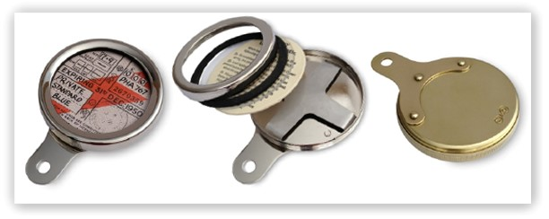 Cowey style brass, chrome & nickel disc holders for classic and vintage vehicles
