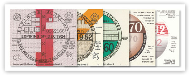 Replica reproduction British tax discs for classic and vintage vehicles